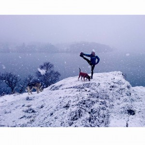 yoga balance snow snowga snoga Ullswater yoga Lake District